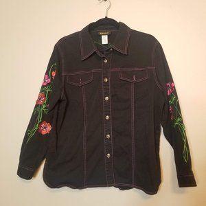 Bob Mackie Wearable Art Black Floral Jacket Sz M